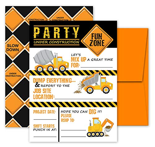 Deluxe Construction Dump Truck Birthday Party Invitations for Boys, 20 Double Sided Large 5 x 7 Flat Fill In Invites with Orange Envelopes, Kids Party -