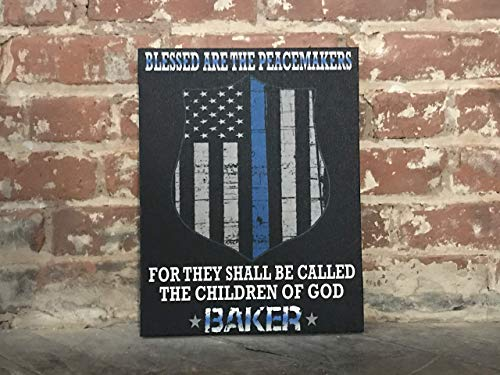 Police Thin Blue Line Sign, Personalized Officer Sign, Plaque, Blessed Are The Peacemakers Canvas, Perfect Gift