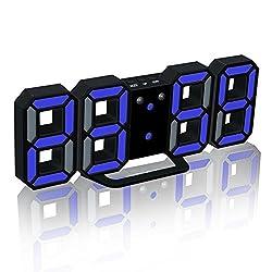 EONSMN 3D LED Digital Alarm Clock, Modern Wall-Mounted Desktop Clock 24/12 Hour Display, with 3 Adjustable Brightness Level, You Can Set The Night Mode and Snooze Function (Black/Blue)