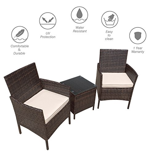 Flamaker 3 Pieces Patio Furniture Set Modern Outdoor Furniture Sets Clearance Cushioned PE Wicker Bistro Set Rattan Chair Conversation Sets with Coffee Table (Brown Wicker) by Flamaker (Image #1)'