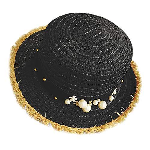 Hats Cap Women Fisherman's Cap Handmade Pearl Holiday Cap Leisure Sun Straw Cap Black