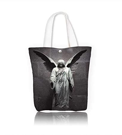 c5891b03494e Amazon.com: Ladies canvas tote bag sculpture of an angel with dark ...