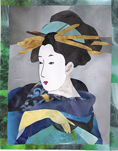 Geisha Cut and Torn Paper Recycled Paper Original Collage Art -