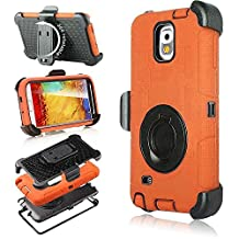 Galaxy Note 3 Case, Note 3 Case, Jwest Shockproof Hybrid Rugged Samsung Galaxy Note 3 Case Rubber Three Layer Holster Cover Case for Samsung Galaxy Note 3 with Built-in Rotating Stand and Belt Swivel Clip Orange