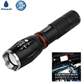 JUGSY Waterproof Powerful Flashlight,LED Tactical Flashlight,LED Flashlight with COB Work Light and Magnet,Super Bright Ideal for Camping Hiking Emergency Uses (Batteries Not Included)