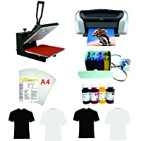 15x15 Flat Heat Press A4 Epson Printer Paper Ink CISS Start-up KIT T-shirts
