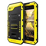 iphone 3 protective screen - iPhone 7 Case Heavy Duty with Screen Three Layers Full Body Protective Waterproof, Hard Strong, Shockproof Drop Proof Tough Rugged Durable Cover Metal Bumper Military Grade Defender for Outdoor,Yellow