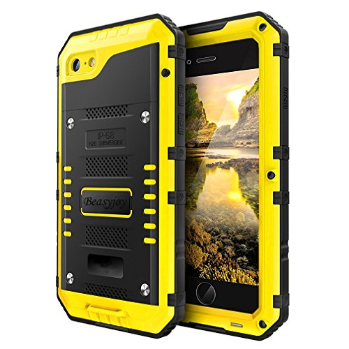 Beasyjoy Waterproof Case Compatible with iPhone 8/ iPhone 7,Beasyjoy Heavy Duty Metal Cover with Screen Full Body Protective,Three Layers Shockproof Drop Proof Durable Military Grade Defender,Yellow