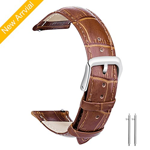 18mm Genuine Leather Strap - Vetoo 18mm Watch Bands Leather, Quick Release Classic Genuine Leather Replacement Watch Strap Wristband for Men and Women (Brown)