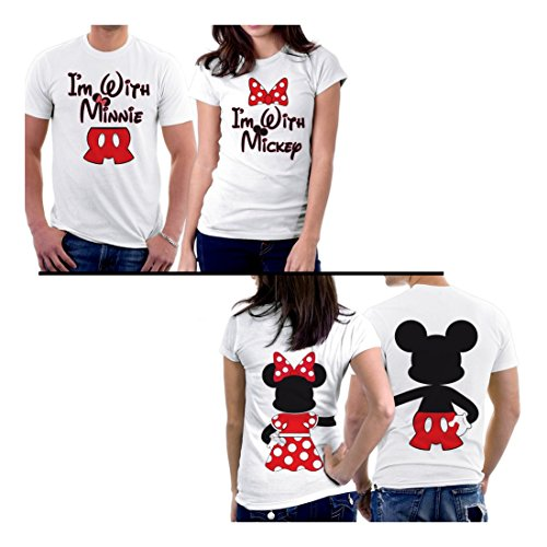 [PicOnTshirt Mickey Minnie Two Sided Matching Couple Shirts Men L / Women M Design 164] (Family Disney Shirts)