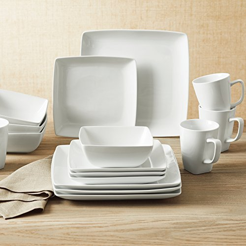 Better Homes and Gardens Porcelain I Oven to Table 16-Piece Square Dinnerware Set in White (Coupe Square Plate Set)