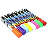Wet Liquid Chalk Neon Marker Pen 8 Color Pack Dry Erase (8 Color Assorted)