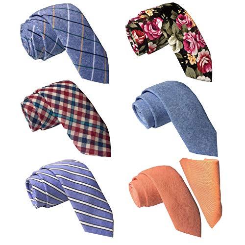 Mens Ties,Tsheoul Lot 6 PCS / 12 PCS Necktie Classic Cotton Handmade Skinny Neck Tie Sets for Men (2.5