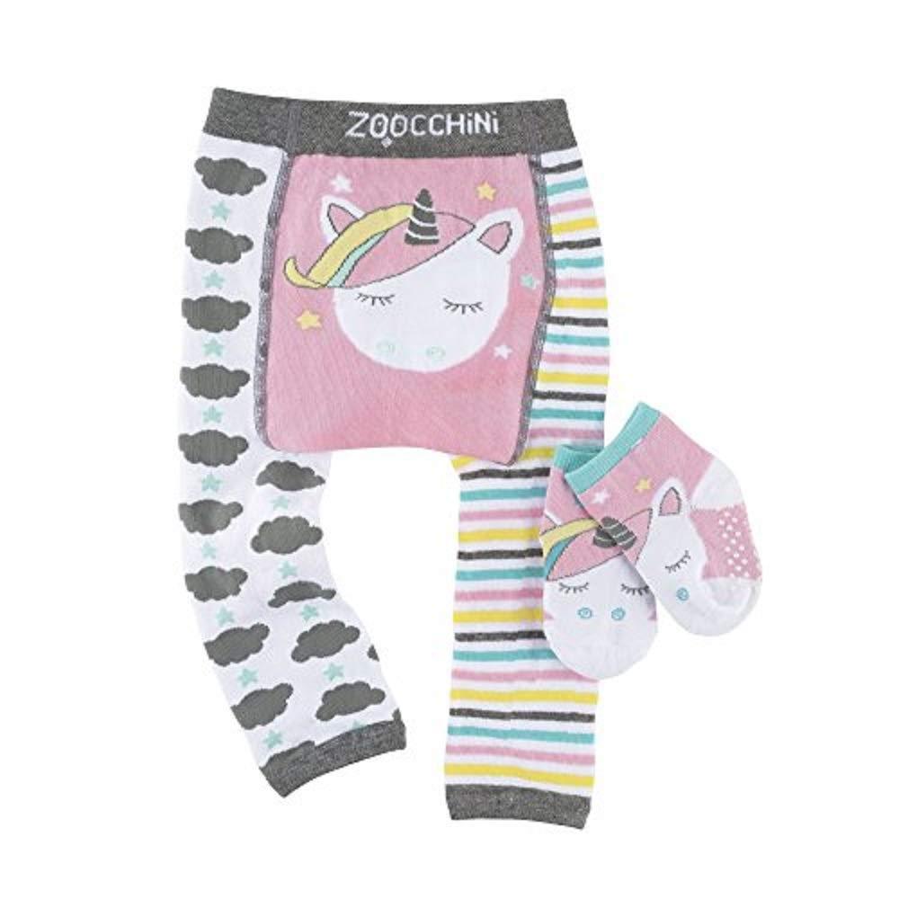 ZOOCCHINI Baby Non-Skid Comfort Crawler Legging & Sock Set Fun Colorful Characters