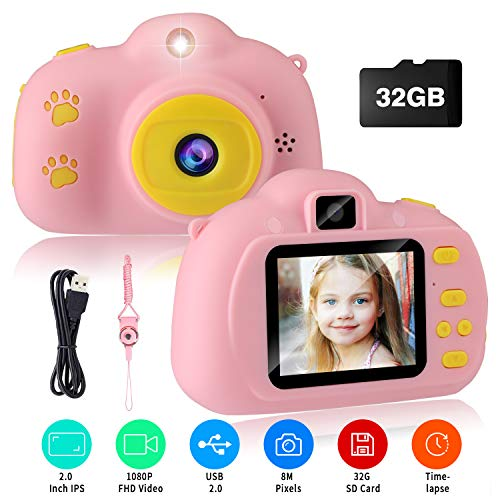 Kids Camera, VAV Digital Video Camera Best Gift for Girls, 8MP 1080P 2.0 Inches IPS Screen Anti-Drop Rechargeable Creative DIY Camcorder, Selfie Toy Camera with 32GB SD Card for 3-10 Years Old (Pink)