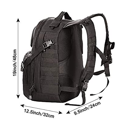 G4Free Tactical Molly Army Backpack Shoulder Bags Assault Rucksack Bug Out Bag for Hiking Camping 40L(Black)