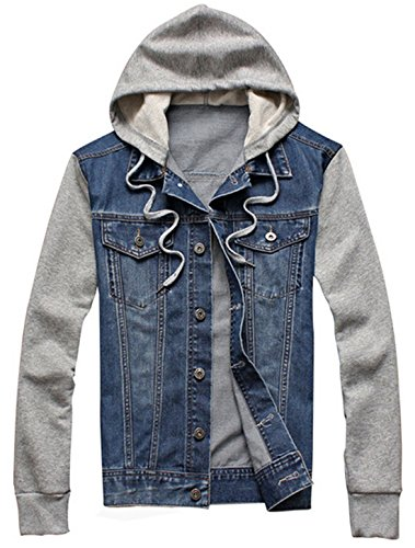 XueYin Men's Denim Hoodie Jacket With Hat Slim Fit Casual Wear(Blue,XL Size) - Hooded Denim