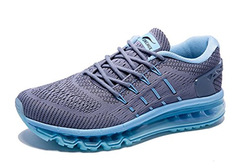 Onemix Men's Air Running Shoes, Light Gym Outdoor Walking Sneakers Grey Blue Size 11 D(M) US