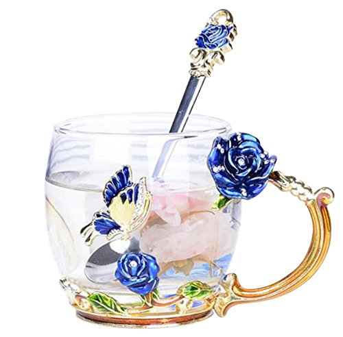 YBK Tech Creative Flower Glass Mug Crystal Glass Tea Cup with Handle for Hot Beverage, Iced Tea, Naked Juice - Blue Butterfly and Blue Rose (Small (320ml) with Gift Box)