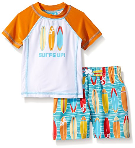 UPC 680567697068, Baby Buns Boys' Wave Rider Rashguard Swim Set, Multi, 18 Months