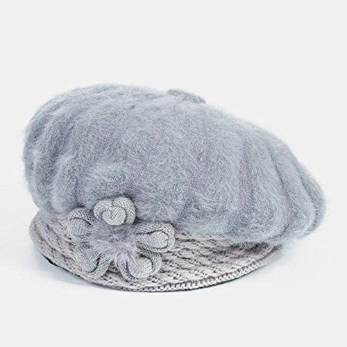 En la el YANXH bordados bean gorros paste mayor sombrero gorros del invierno femenino grey mamá Capa de red 8qqwrd45x