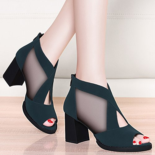 Tacon De Salvaje Alto De Retro De Verano blue GTVERNH Zapatos Gasa Heels Mujeres Zapatos Damas Sandalias De De De 7Cm Tacón Neto Medio Pescado De Boca Rough a7xxqw4S1Y