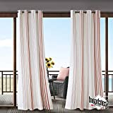 N&T 1 Piece Coral Cabana Stripes Gazebo Curtain Panel 84 Inch, White Coastal Print Outdoor Curtain Light Filtering For Patio Porch, Water Resistant Indoor/outdoor Drapes Sunroom Grommet, Polyester