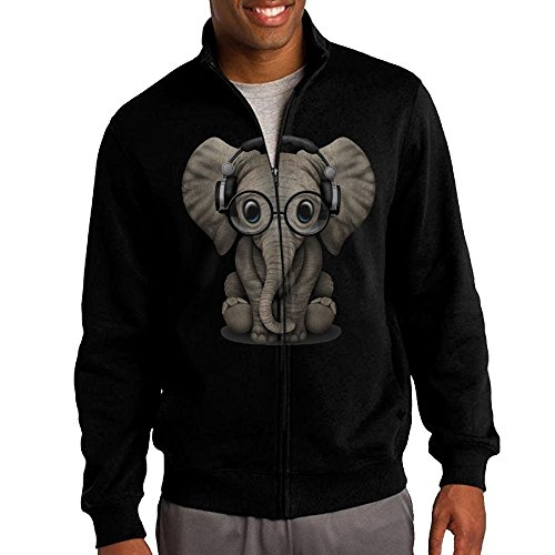 Costume Design Classes Philadelphia (Men's Elephant Glasses Solid Stand Collar Zipper Jacket Size S)