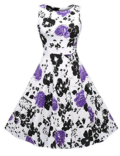 ACEVOG Women's Vintage Sleeveless Rockabilly Bombshell Pinup Swing Floral Dress, XX-Large