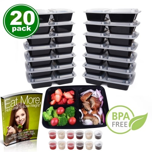 Meal Prep Containers 3 Compartment [20 Pack] & 1.5 oz Sauce Cups, Leak Proof , BPA Free, Freezer, Microwave, Dishwasher Safe, Reusable & Durable Food Storage Containers (32 oz) - - Glasses Good To Way Clean
