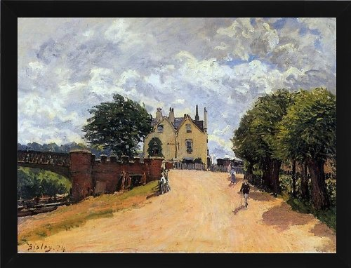 alfred-sisley-inn-at-east-molesey-with-hampton-court-bridge-215-x-285-framed-premium-canvas-print