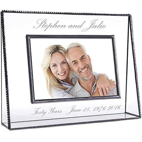 J Devlin Pic 319-57H EP553 Personalized Anniversary Picture Frame Engraved Glass Tabletop 5 x 7 Horizontal Photo Frame Keepsake - Etched Tabletops Glass