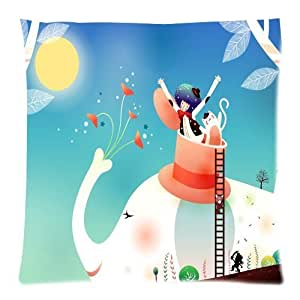 Custom Lovely Magic Elephant Pattern Background Rectangle Pillow Case 18 X 18 Inch cloth simulation Zippered Pillow Cover - Lljpcovers Two sides Print