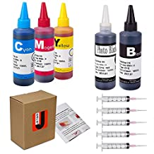 JetSir Four Colors Compatible Ink Refil Kit for HP,Refill Dye Ink for hp 950/951 564 932/933 920 940 etc Inkjet Cartridge-Black/Cyan/Magenta/Yellow 100ml