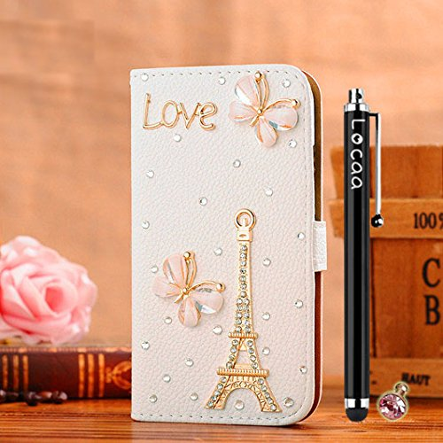 Locaa(TM) For SONY Xperia T2 Ultra SonyT2 3D Bling Case + Touch stylus + Anti-dust ear plug Deluxe Luxury Crystal Pearl Diamond Rhinestone eye-catching Beautiful Leather Retro Support bumper Cover Card Holder Wallet Cases -[General series] Eiffel Tower butterfly