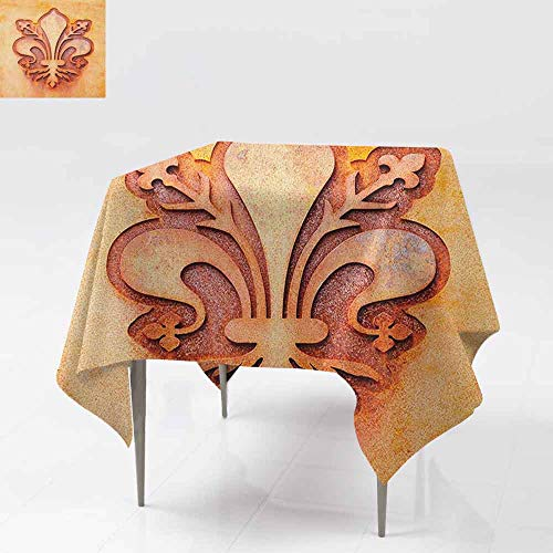 (AndyTours Waterproof Table Cover,Fleur De Lis,Lily Flower Symbol on Plate Floral Design Royal Arms France Sign Cultural Print,Dinner Picnic Table Cloth Home Decoration,54x54 Inch Orange)
