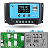 10A 12V/24V Solar Charge Controller with LCD Display Function Auto Regulator Intelligent Port for Solar Panel Battery Lamp Overload Protection Temperature Compensantion