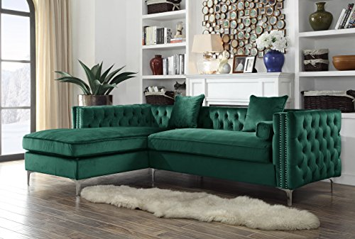 Iconic Home Da Vinci Left Hand Facing Sectional Sofa L Shape Chaise Velvet Button Tufted with Silver Nail Head Trim Silvertone Metal Y-Leg with 3 Accent Pillows, Modern Contemporary, Green