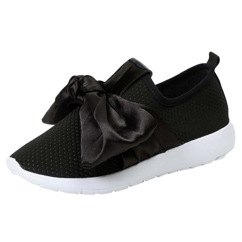 Women's Breathable Sneakers Bow Mesh Soft Bottom Sports Running Shoes for Outdoor Black