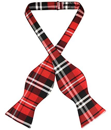 Vesuvio Napoli SELF TIE BowTie Black Red White Color PLAID Men's Bow Tie