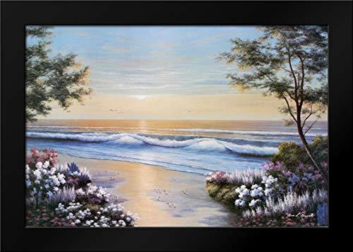 Ocean Breeze 40x28 Modern Black Wood Framed Art Print by Romanello, Diane
