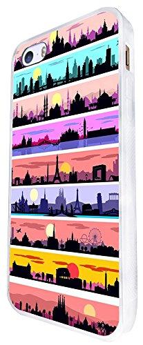 1051 - Cool Fun Cute World Travel London India Paris New York Design iphone SE - 2016 Coque Fashion Trend Case Coque Protection Cover plastique et métal - Blanc