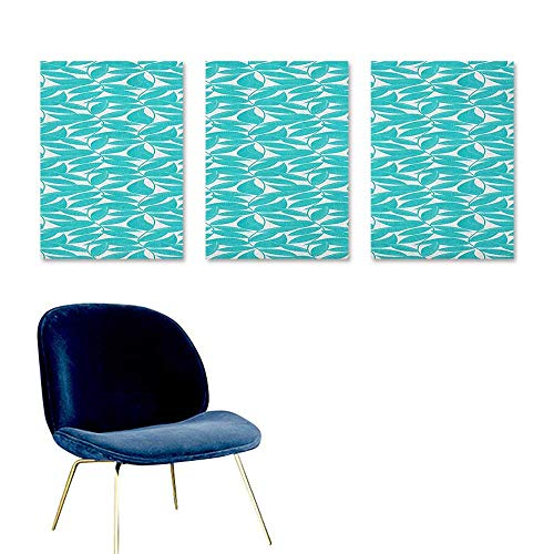 (J Chief Sky Turquoise,Wall Paper Foliage Pattern with Lined Leaves Tropical Themed Image Graphic Stripes Decor Sticker Turquoise White W24 x L48)