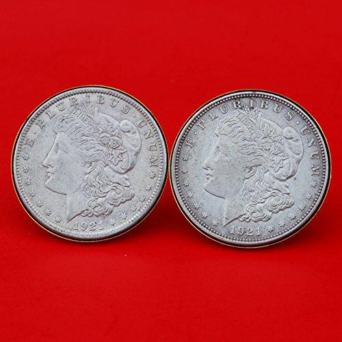 US 1921 Morgan Silver Dollar Gold Cufflinks NEW by jt6740