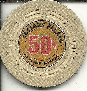 - $.50 caesars palace super rare obsolete las vegas casino chip