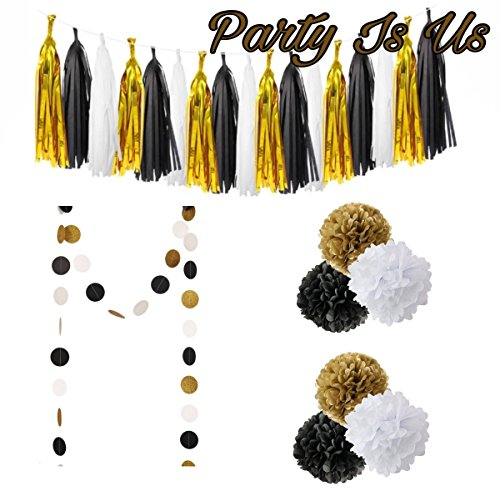 20 Pcs Black Gold White Party Decoration Supplies Tassel Garland Paper Circle Garland For Graduation Party Decoration,Wedding ,Birthday Decoration Engagement Party Decoration, By Party Is Us. - White Party Ideas