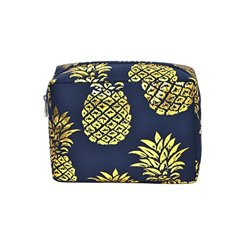 - N. Gil Large Travel Cosmetic Pouch Bag 3 (Gold Southern Pineapple Navy Blue)
