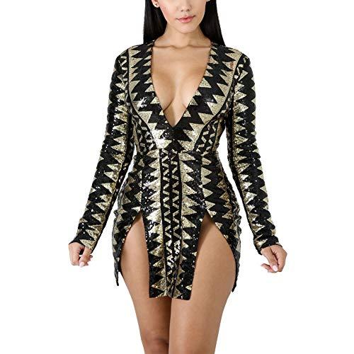 Womens Sexy Sequin V Neck Long Sleeve Bodycon Party Split Mini Dress Golden&Black XL ()