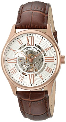 Rose 16k Automatic - Stuhrling Original Men's 747.04 Atrium Automatic Skeleton Rose Tone Brown Leather Strap Watch