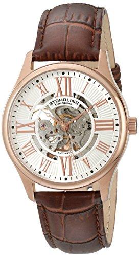 16k Rose Automatic - Stuhrling Original Men's 747.04 Atrium Automatic Skeleton Rose Tone Brown Leather Strap Watch